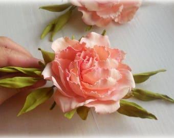 Wedding Hair clip Flower for Hair piece Wedding Accessory Bridal Headpiece Pink Wedding Peach flower Flower hair piece Peach accessory