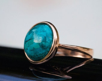 Gold Turquoise Ring, Turquoise Gold ring, Solid Gold ring, December Birthstone Ring, vintage ring, vintage gold ring, rose gold ring