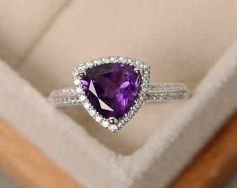 Natural amethyst ring, trillion cut ring, purple amethyst ring, engagement ring