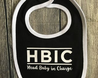 """HBIC """"Head Baby in Charge"""" Baby Bib"""