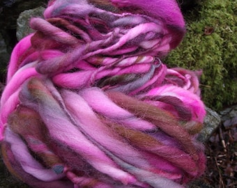 Handspun art yarn, handpainted wool yarn, Falkland wool extreme thick and thin super bulky-Carousel