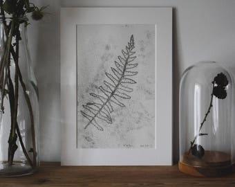 Botanical monotype print: Fern