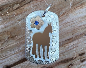 """Standing Horse pendent/ Dog Tag/ sterling silver/ Artisan Handmade/11/2""""x 1"""""""