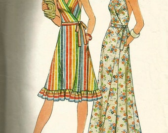 Vintage 70s Simplicity 7484 Misses Front Wrap Halter Maxi or Knee Length Dress Sewing Pattern Size Small Bust 31.5-32.5