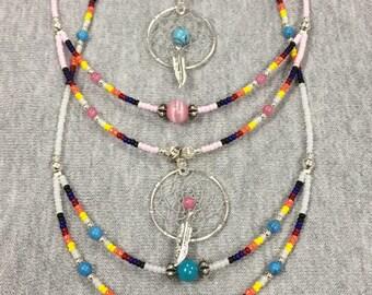 Beaded Dream Catcher Necklaces