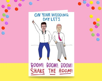 Greeting Card - On Your Wedding Day Let's Boom Boom Boom Shake The Room - Two Men Version | Wedding Card