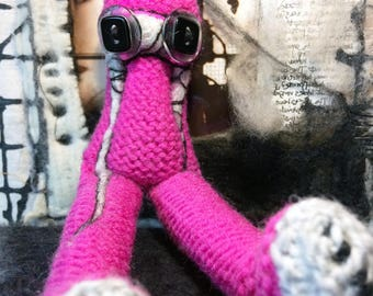Pink Creature Halloween Gift Creepy Cute Macabre Oddity Knitted Art Doll Horror Soft Sculpture Art Textile Huge Black Eyes