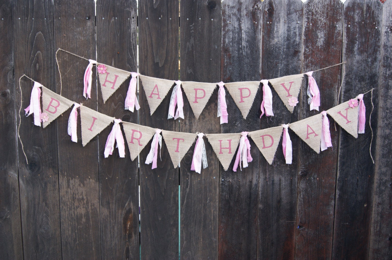 Happy Birthday Banner Girl Flowers Pink Lace Burlap Sweet 16 Rustic