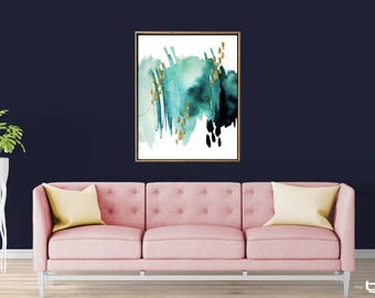 Modern Abstract Watercolor Painting, Green abstract Print, Gold Brush Strokes Art Print, Abstract Watercolor Art, Giclee Abstract Wall Art