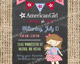 American Girl with Glasses *** Party PRINTABLE PERSONALIZED INVITATION***