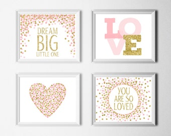 Set of 4 Prints Dream Big Little One Print You Are So Loved Print Pink Gold Nursery Decor Baby Girl Nursery Wall Art Horizontal Layout