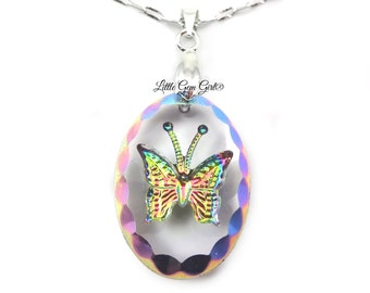 Oval Butterfly Necklace - Rainbow Butterfly Pendant - 18x25mm Engraved Butterfly Charm - Crystal Butterfly Necklace with Sterling Chain Opt