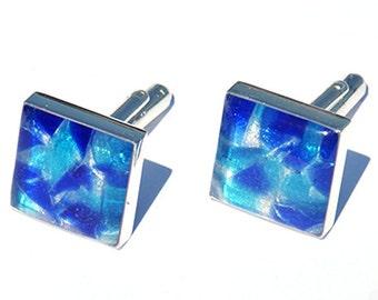 CUFFLINKS - Cuff Links, Mosaic Cuff Links, Blue Cufflinks