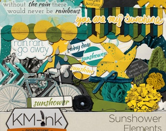 """Spring Digital Scrapbook Kit: """"Sunshower"""" - April Showers / rainy day digital scrapbooking ELEMENTS in green, blue, and yellow"""