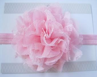 Pink Chiffon Lace Headband - Baby Headbands - Baby Girl Headbands - Newborn Headbands - Infant Headbands - Pink Headband