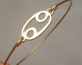 Cancer Zodiac Sign Style 4-personalized Zodiac Constellation bangle bracelet - June July Birthday