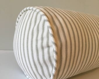 Gray Striped Ticking Throw Pillow Bolster