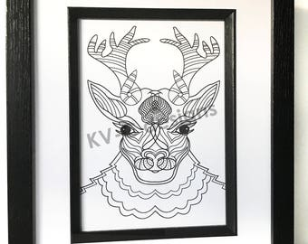 B/W Deer handmade Drawing - Art/Prints