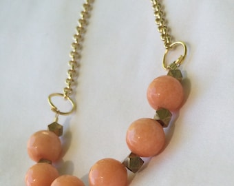 Peach Gemstone Long Statement Necklace, Gold Necklace, Beaded Necklace, Women's Jewelry, Bridesmaid Gift, Trending Items, Jewelry by RJ