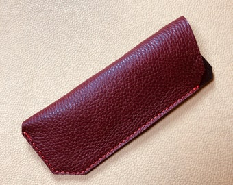 Leather Glasses Case, Spectacle Case, Sunglasses case, Eyeglass case, Sunglass Case, RED - BLACK