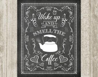 Chalkboard Coffee Wall Art, Printable Kitchen Sign, Coffee Poster, Coffee Print, Kitchen Print Quote 5x7 8x10 11x14 16x20 Instant Download