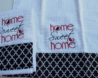 Kitchen towel set, Tea towel set, Black, Red, and White kitchen decor, Embroidered towels, *ready to ship*