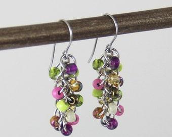 Butterfly Garden Cluster Earrings - Small Beaded Dangle Earrings Colorful Purple Pink Gold Bronze Lime Green Cute Multi Color