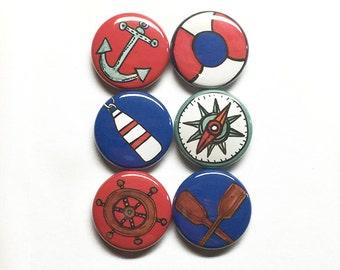 Nautical Magnet or Pin Set - anchor, sailboat, sailing, boating, sailor gift, boat life preserver, oars, pinback buttons, fridge magnets