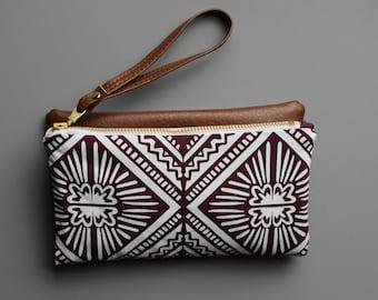 Tulum Folded Clutch. Vegan handbag. Day to night accessories. Waxed canvas clutch. Vegan Leather. Geometric print. Tropical inspired print