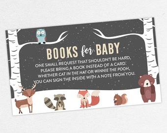 INSTANT DOWNLOAD Books for Baby Card, Baby Shower Books for Baby, Books for Baby PDF, Diy, Woodlands, Fox, Birch, Animals, Winter Forest