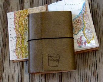 Eimer Liste Journal mit Karten als ein Reisetagebuch, distressed faux Leder Journal von tremundo