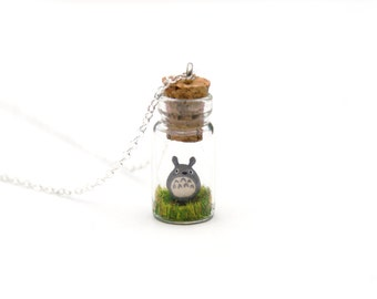 Totoro Necklace - Studio Ghibli Gift - Kawaii Gift For Her, tiny glass jar, 2.5cm tall, 16 inch chain