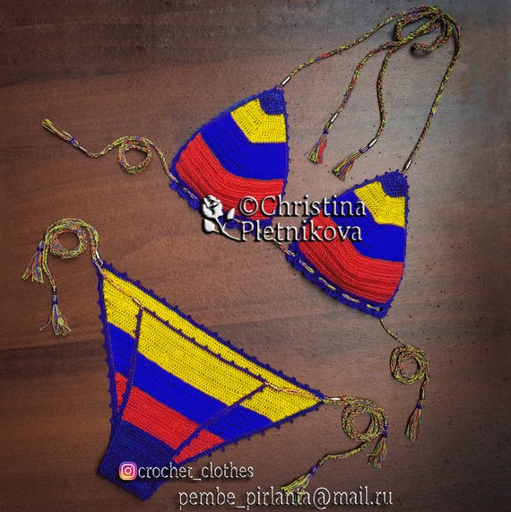 Venezuela Crochet Bikini Set Bathing Suit Latin American Flag