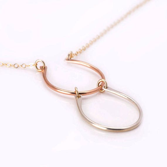 Horseshoe Necklace, Geometric Multi Color Necklace, Lucky Necklace, Good Luck Charm Necklace, Open Circle Necklace, Unique Wire Necklace