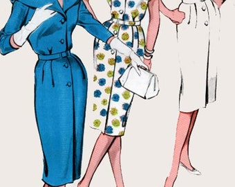 1960s Slim Sheath Dress with Scalloped Cape Collar Butterick 9305 Mod Madmen 60s Vintage Sewing Pattern Size 16 Bust 36