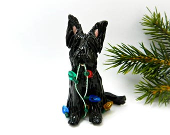 Briard Black Porcelain Christmas Ornament Figurine Lights OOAK