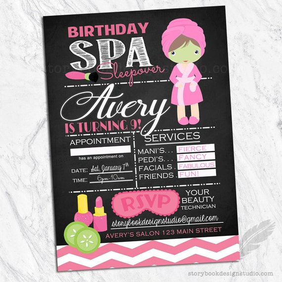 Spa Salon Birthday Party Invitations Sleepover Hair Nails