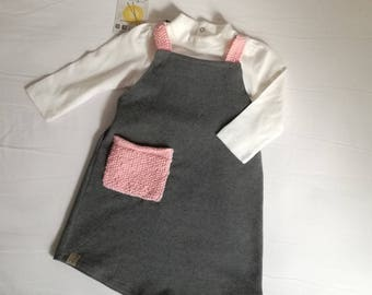 Baby girl dress | grey and pink
