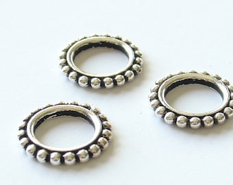 Tierra Cast 12mm Pewter Round Beaded Link Ring - Antique Silver - 2 Pieces - 3112