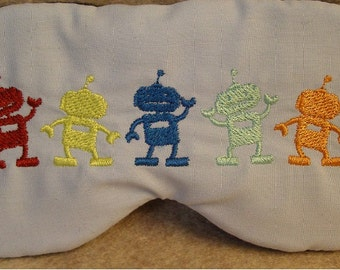 Embroidered Eye Mask, Robots, Sleeping, Cute Sleep Mask for Kids, Adults, Sleep Blindfold, Slumber Mask, Robot Design, Sleep Shade Handmade