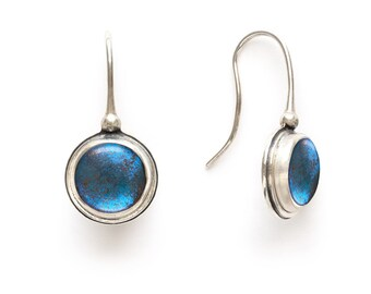 Real Butterfly Wing Earrings Sterling Silver and real Blue Morpho