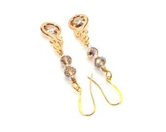 Pink Blush Swirl Drop Crystal Earrings, Pink Earrings, Pink Crystal Drop Earrings