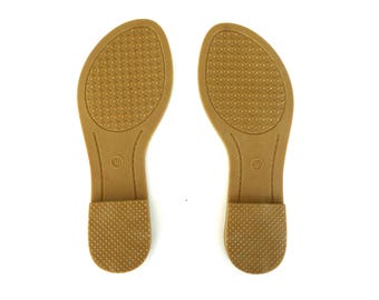 Pair of shoe sole for sandal  (36-40 EU size, 6-10 US size), beige rubber sole with insole for woman  flat sandal