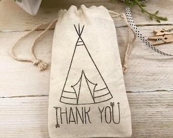 Teepee Favor Bag~Thank You Muslin Bag~ Wild One Favor Bag~Muslin Favor Bag  (3x5 shown)