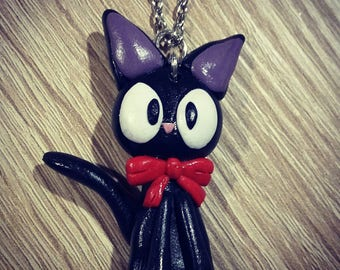 Necklace-Pendant CAT black kiki the little witch in fimo; Gift for her; Fashion jewelry; cartoon ; mothers' Day