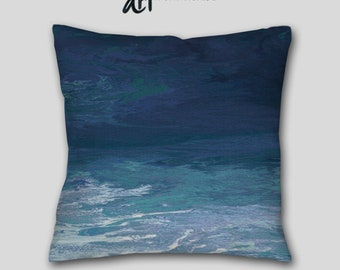 Large sofa cushion, Teal Navy Blue Throw pillow, Cover Case, Accent, Abstract art, Couch, Decorative