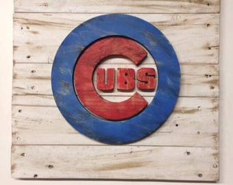 Rustic Chicago Cubs Wall Hanging