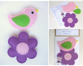Learn to Sew Kit for Kids - Purple, Pink and Green Baby Bird and Flower