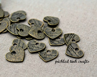 Small Brass Heart Shaped Charms