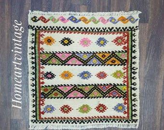 "Turkish Kilim,Turkish Handmade Cecim, 23""x22"" ınches   Anatolian Cecim, Sofa Kilim,Decorative Kilim,İnterior Rug,Handwoven Cecim,Wool Kilim"